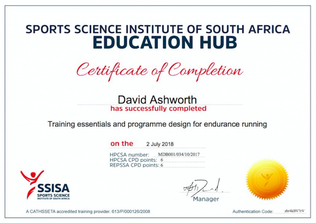 David Ashworth endurance running certificaate